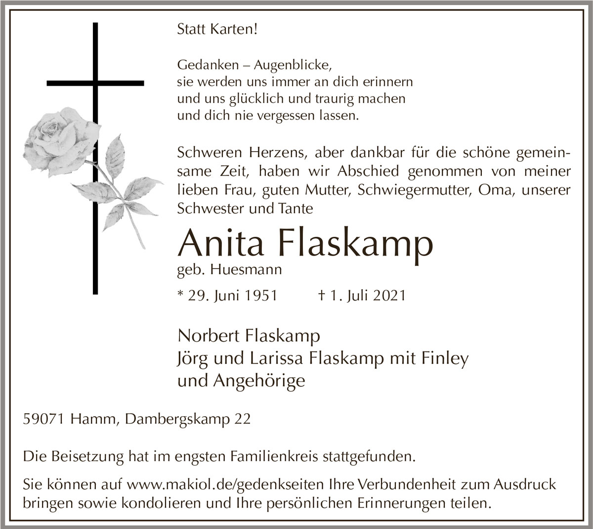 Traueranzeige von  Anita Flaskamp