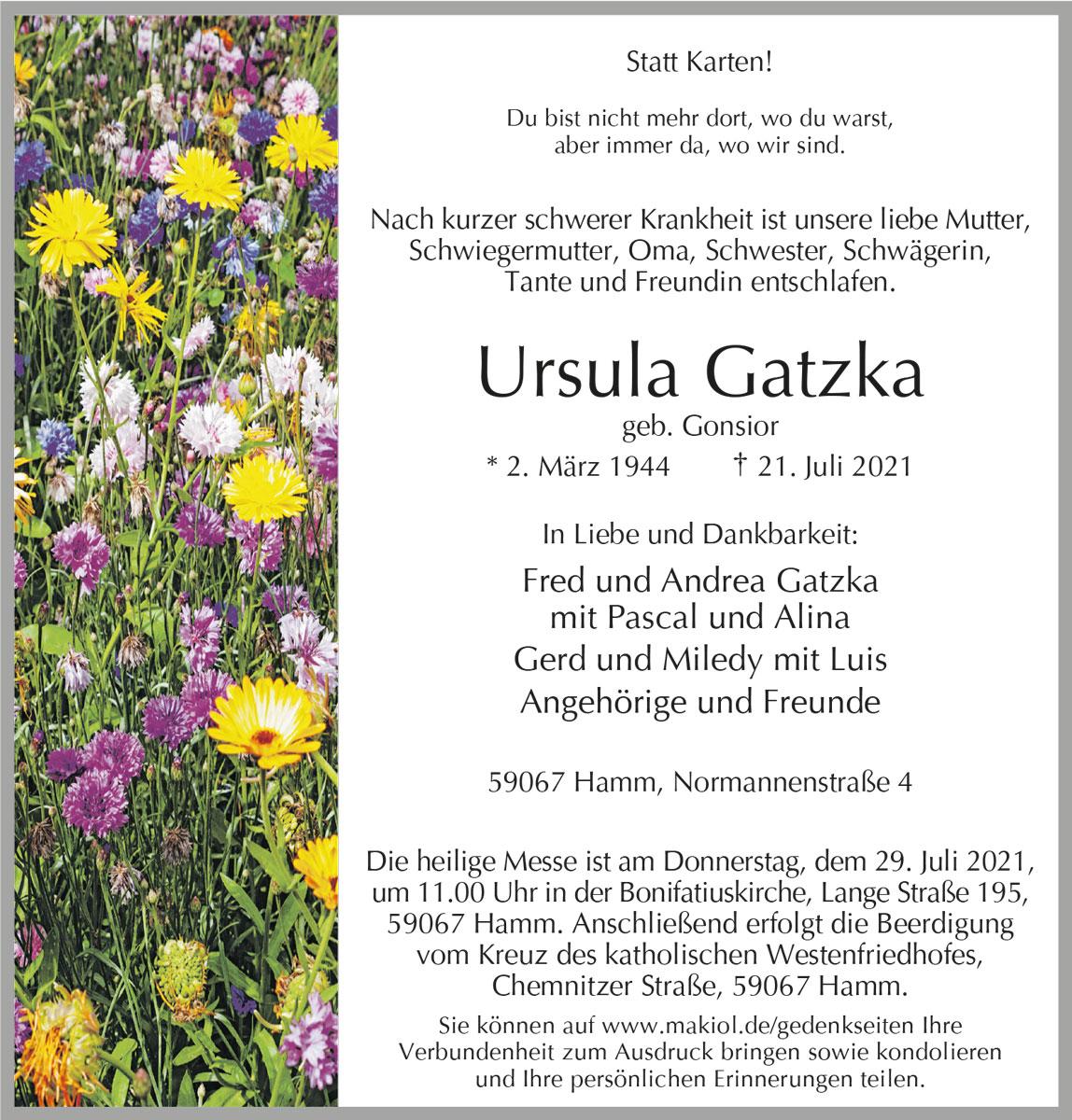 Traueranzeige von  Ursula  Gatzka