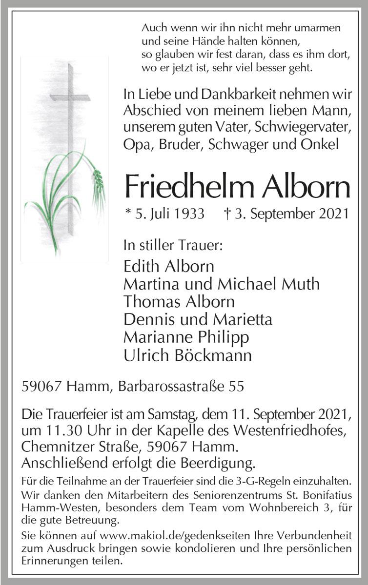 Traueranzeige von  Friedhelm Alborn