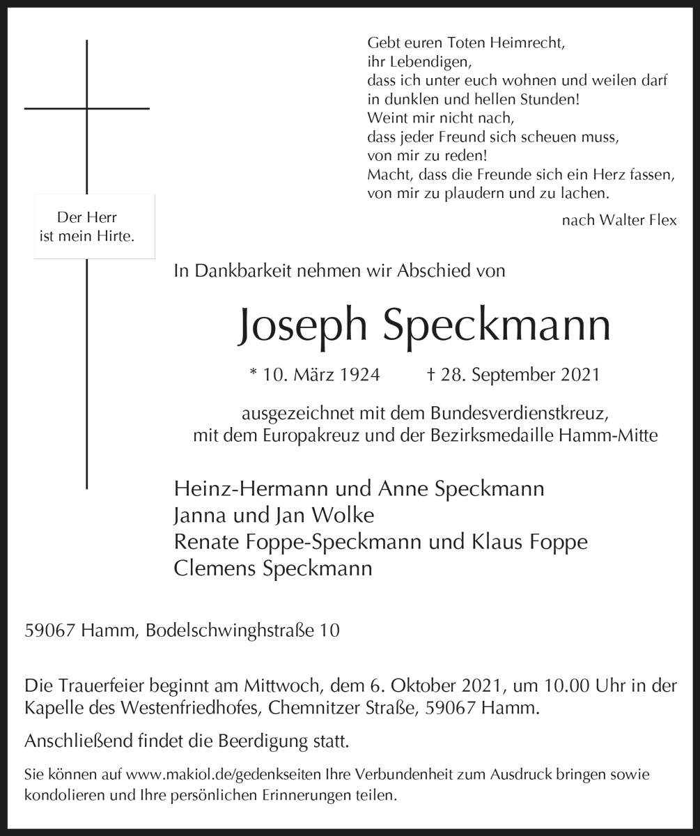 Traueranzeige von  Joseph Speckmann