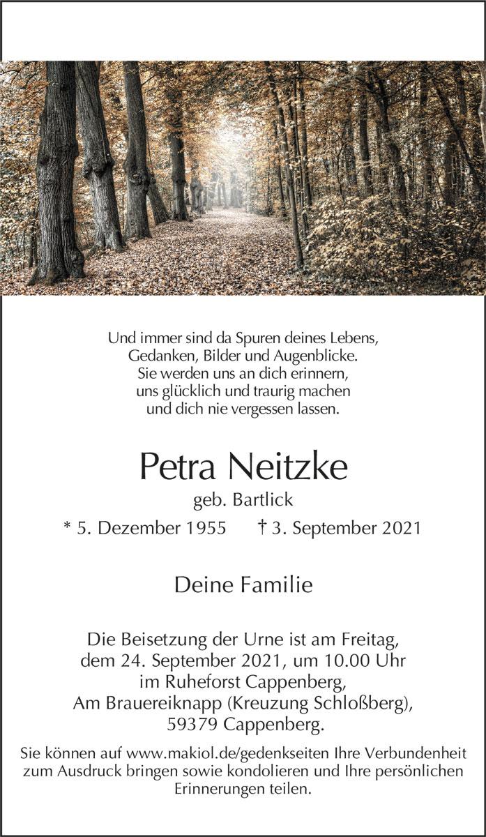 Traueranzeige von  Petra Neitzke