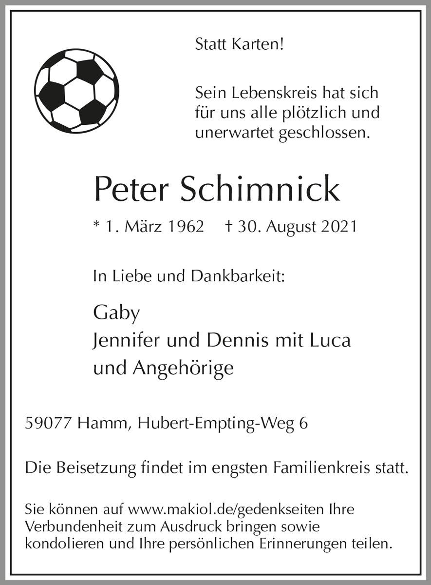 Traueranzeige von  Peter Schimnick