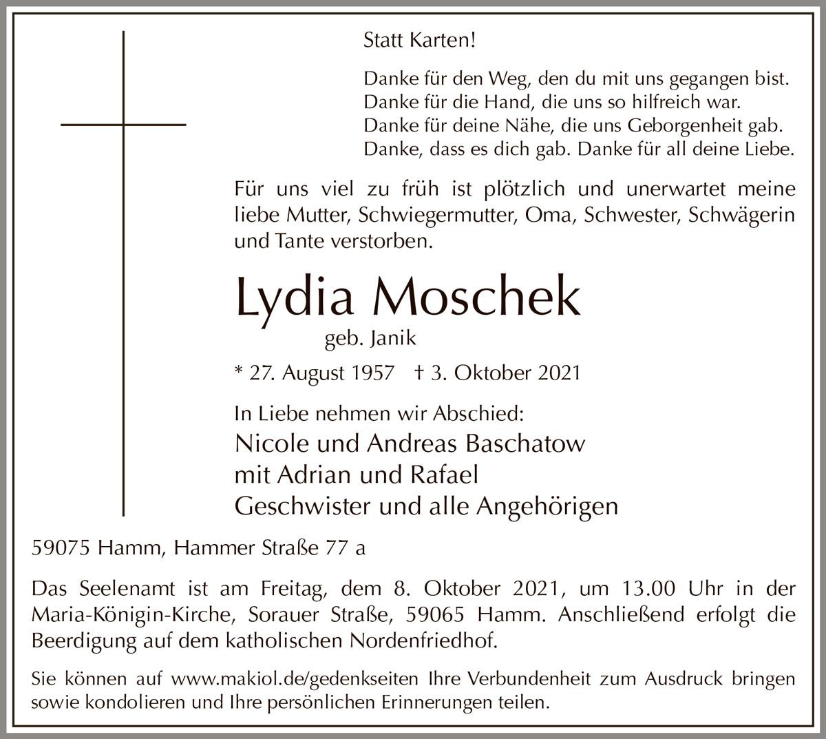 Traueranzeige von  Lydia Moschek